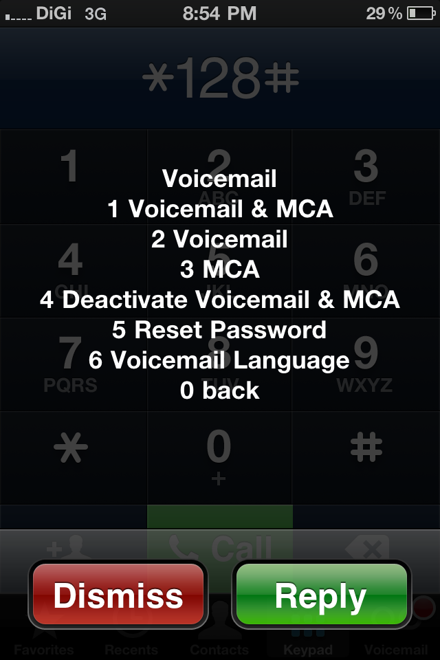 Step 4: Reply 4 (Deactivate Voicemail & MCA)