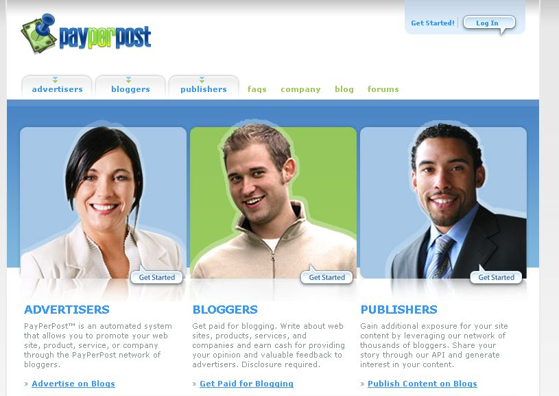 Payperpost.com homepage