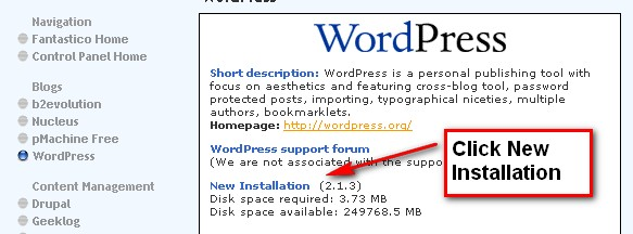 Click WordPress new installation