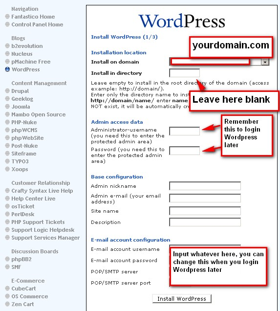 Fill in information on WordPress Installation page